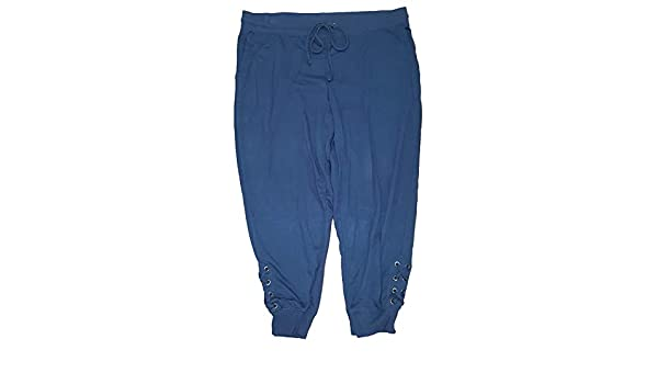 1e8821bad01 Terra   Sky Women s Plus Size Blue Cove Generous Fit Capri Jogger Lace up -  2X at Amazon Women s Clothing store