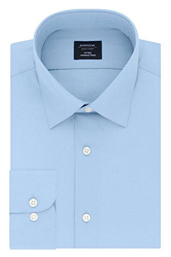 Arrow Men's Fitted Dress Shirt Poplin, Robins Egg Blue, 16-16.5 Neck 32-33 Sleeve