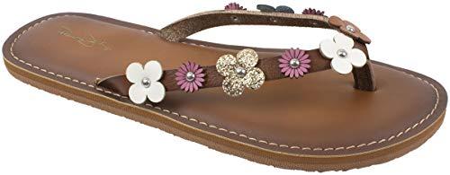 Panama Jack Womens Sandal,Premium Flip Flop Sandal with Memory Foam,Tan Flowers,Women