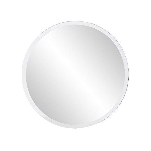 Howard Elliott Frameless Hanging Wall Mirror, Round Small (12 Inch), Silver - -
