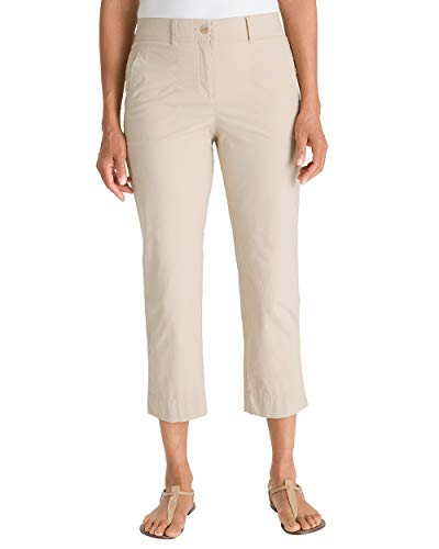 Weekend Chino Cropped Pants - Chico's Women's Secret Stretch Straight-Leg Crop Pants Size 16/18 XL (3) Tan