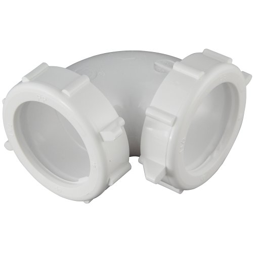 Plumb Pak PP20555 Sink Drain Pipe Elbow with Reducing Washer, 90 Deg, 1-1/2 in, Plastic, 10 Piece