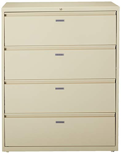 Lorell 4-Drawer Lateral File, 42 by 18-5 8 by 52-1 2-Inch, Putty