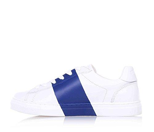 BIKKEMBERGS - Baskets blanches à lacets, en cuir, insert bleu latéral, garçon, garçons, homme, Hommes