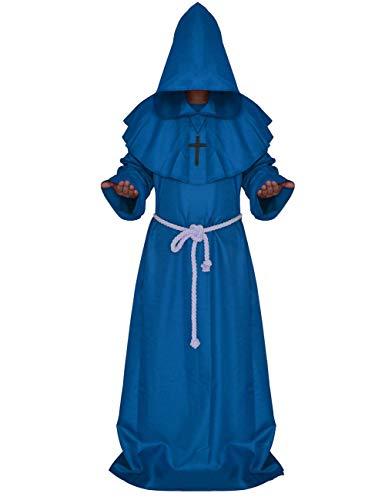 (KAMA BRIDAL Medieval Monk Robe Hooded Robe Cloak Priest Cosplay Costume Blue)