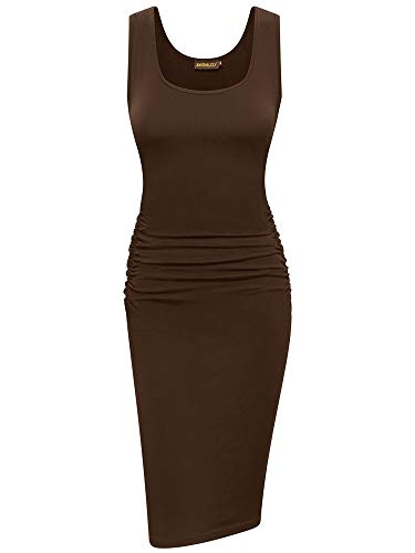 - NASHALYLY Women's Sleeveless Ruched Casual Knee Length Midi Bodycon T Shirt Dress(M, Coffee)