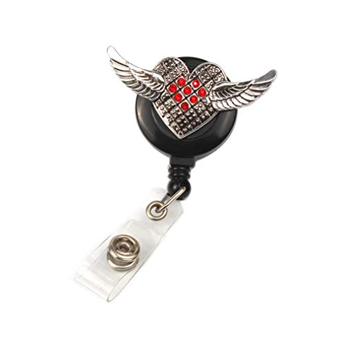 AYHU Cute Heart Love Angel Wings Badge Reel Office Retractable Nurse Name ID Badge Holder with 360 Swivel Alligator Swivel Clip (Red)