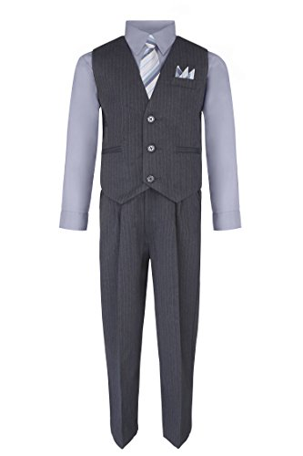 Boy's Vest and Pant Set, Includes Shirt, Tie and Hanky -  Grey/Silver, 8 Dress Vest Pants