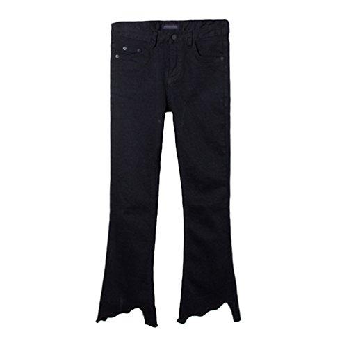 Dexinx Femmes Normale Casual Jeans Stretchy t Taille Haute en Denim Pantalons Boot Cut Noir