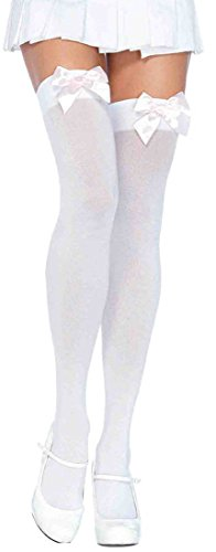ToBeInStyle Women's Opaque Satin Bow Accent Thigh Highs (One Size, White/Light (Satin Opaque Thigh Highs)