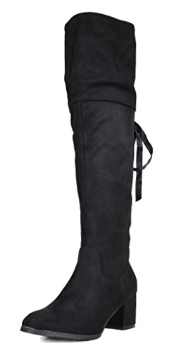 DREAM PAIRS Women's AMUS Black Over The Knee Chunky Heel Winter Boots Size 8 M US