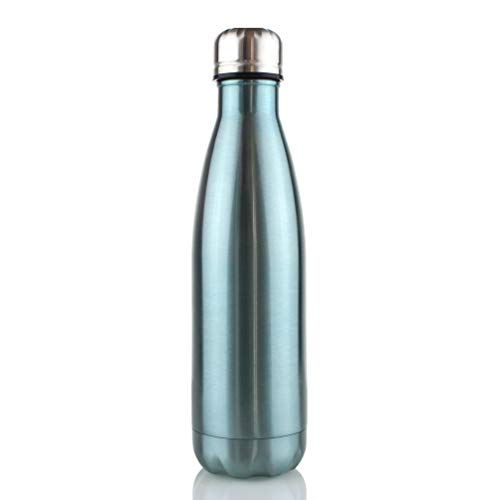 (WATER'S GOOD Sport Water Bottle Double Wall 18/8 Stainless Steel Vacuum Insulated Cola Shaped 17oz Candy Blue)
