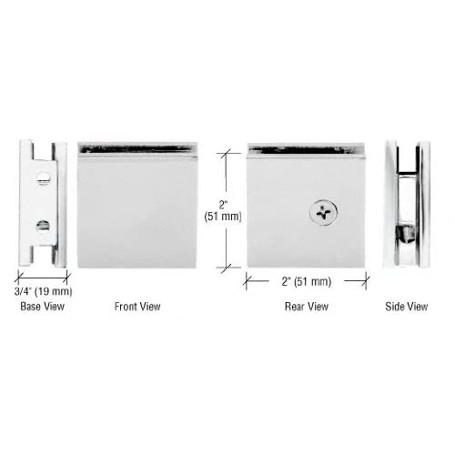 CRL Chrome Square Style Notch-in-Glass Fixed Panel U-Clamp