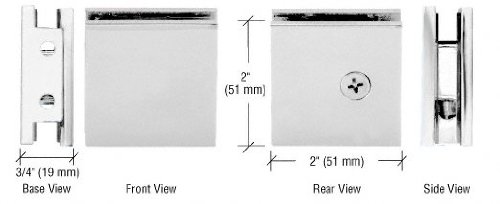 CRL Chrome Beveled Style Notch-in-Glass Fixed Panel U-Clamp