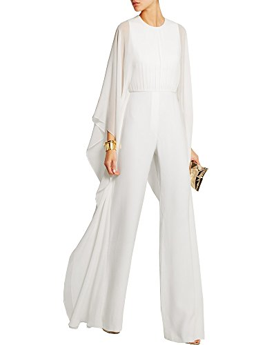 Maketina Womens Flare Long Bat Sleeve Wide Legs Zipper Evening Jumpsuit Rompers