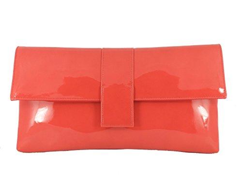 Loni Womens Sensational Faux Patent Large Clutch Bag/Shoulder Bag Wedding Party Prom Bag In Coral Orange (Orange Patent Leather Clutch)