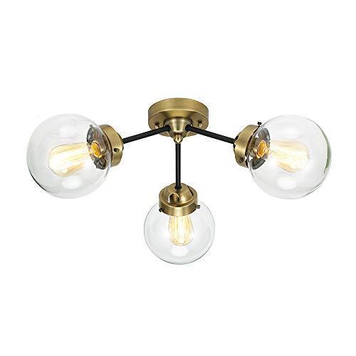 - Rivet Mid-Century Modern Two-Tone Black and Brass 3-Light Semi-Flush Mount Ceiling Light, 10
