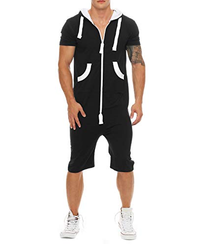 (jumpjisper Mens Rompers Jumpsuits Shortsleeve One Piece Drawstring Hooded Tracksuits Casual Coverall Playsuits with Pockets (Black, XXL))