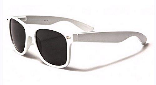 Sunglasses Classic 80's Vintage Style Design (White, Smoke)