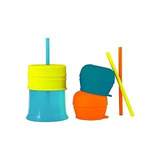 Boon SNUG Straw with Cup, Blue/Orange/Green
