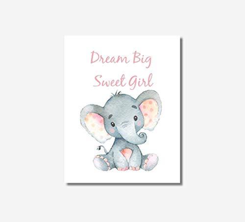 Girls Nursery Decor CANVAS Wall Art - Dream Big Sweet Girl, Elephant, Pink, Single Print