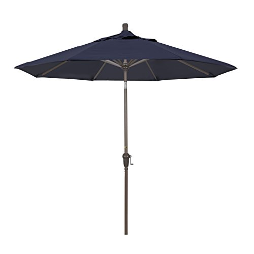 California Umbrella 9' Round Aluminum Market Umbrella, Crank Lift, Auto Tilt, Champagne Pole, Sunbrella Navy