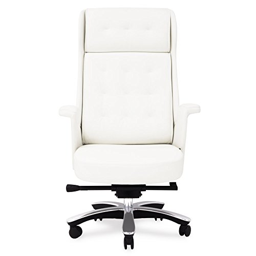 (Rockefeller Genuine Leather Aluminum Base High Back Executive Chair - White )