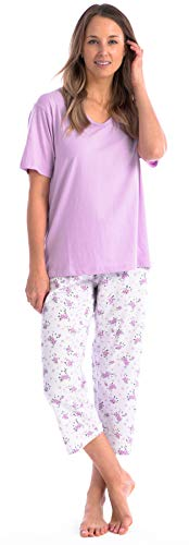 Capri Set Smocked - Pink Lady Ladies Capri PJ Bottoms and Cap Sleeve Pajama Loungewear Set (Violet V Neck, Medium)