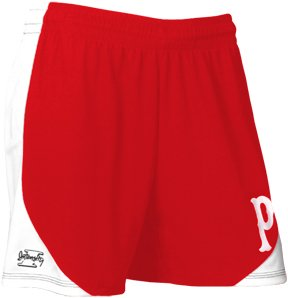 Intensity Women's Contoured Mock Mesh Shorts with Side Panels, Scarlet/White, Large