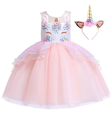 Girls Unicorn Dress Pageant Flower Costume Kids Unicorn Fancy Dress Tutu Ball Gowns]()