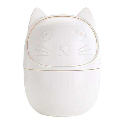 FOONEE Cartoon Desktop Storage Container, Cartoon Cat Pencil Holder Plastic Mini Trash Can, Office Desk Supplies Organizer with 360 Degree Rotary Cover Socks Small Objects Round Storage Basket