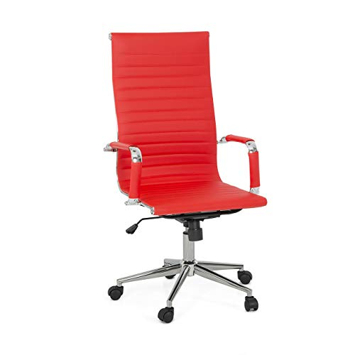 Belleze Modern High-Back Executive Ribbed Upholstered Faux Leather Conference Swivel Tilt Office Desk Chair, Red