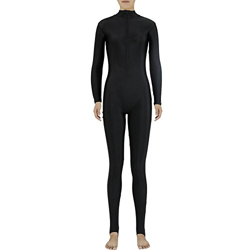 [Muka Adult Zentai Spandex Polo Neck Unitard Supersuit Costume Dancewear - Black,S] (Morph Suit Costumes Ideas)
