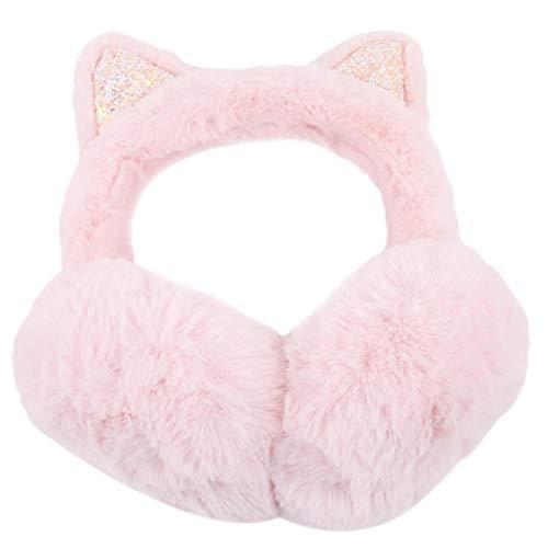Hello22 Foldable Earmuffs Furry Ear warmers Plush Cat Ears Design Plush for Women Girls