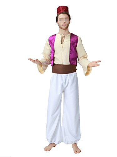 Arabian Costumes For Men (Men's Arabian Prince Costume Exotic Uniform Halloween Cosplay Outfit,As Shown,X-Large)