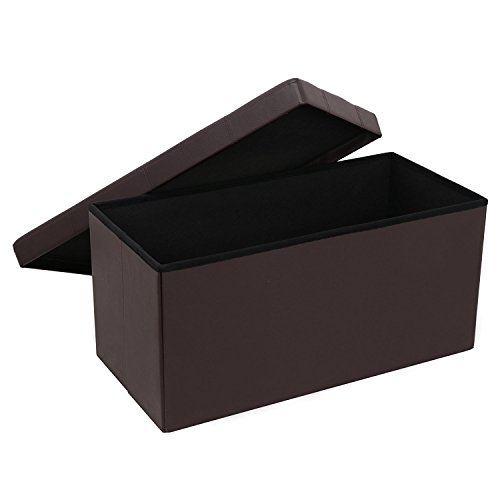 BBBuy Folding Storage Ottoman Coffee Table Foot Rest Stool, Faux Leather (Brown) by BBBuy (Image #2)