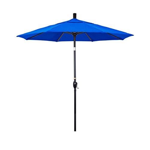 Pacific Blue Sunbrella (California Umbrella 7.5' Round Aluminum Market Umbrella, Crank Lift, Push Button Tilt, Black Pole, Sunbrella Pacific Blue)