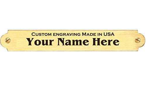 """0.375"""" H x 2.5"""" W, Solid Brass Plate with Satin Gold Finish and Scallope Ends, Name Plate Tag Custom Engraved Black Text Made in USA"""