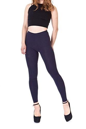 Premium Basic Cotton Blend High Waist Full Length Leggings (XL, Navy)