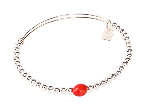 Handmade Silver Bangle - Peruvian Bracelet for Women - Huayruro Red Seed Bangle with Silver Beads - Natural Handmade Jewelry by Evelyn