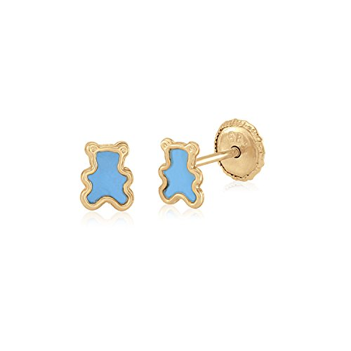 MASSETE 14k Yellow Gold Screwback Earrings Teddy Bear Light Blue for Baby and (14k Gold Fashion Bear)