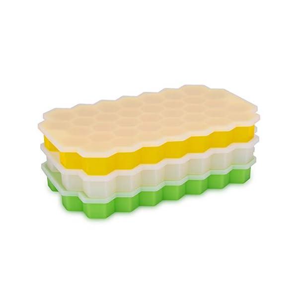 Vaschette per cubetti di ghiaccio con coperchio, 37 cubetti di ghiaccio con coperchio rimovibile, in gel flessibile e… 2 spesavip