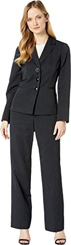 Le Suit Women's Three-Button Peak Lapel Stripe Pants Suit Black/Blue 14 ()
