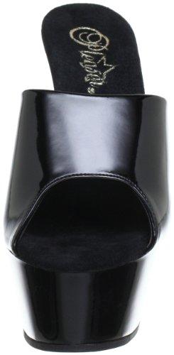 Pleaser EU-KISS-201 - Sandalias de material sintético mujer negro - Schwarz (Blk pat/blk)