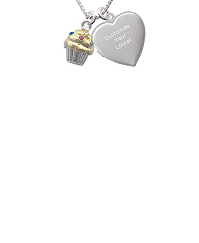 Delight Jewelry Two Tone Cupcake with Crystal Sprinkles Custom Engraved Heart Locket Necklace