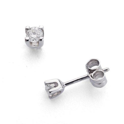 18k boucles d'oreilles en or avec des diamants griffe Ct 0,20.