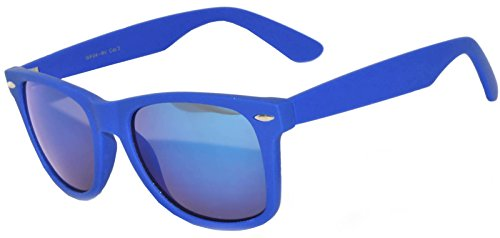 1 Pair Mirrored Reflective Blue Lens Sunglasses Dark Blue Matte Frame Horn Rimmed Style