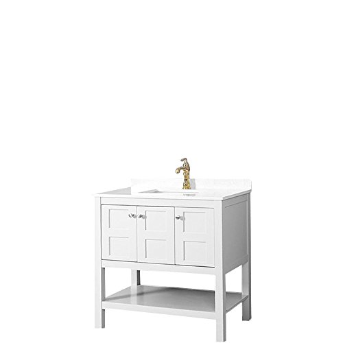 LifeDesign Home Shaker White Bathroom Vanity with Quartz Top and Single Sink, 36-Inch, SW-FVSET36 (36