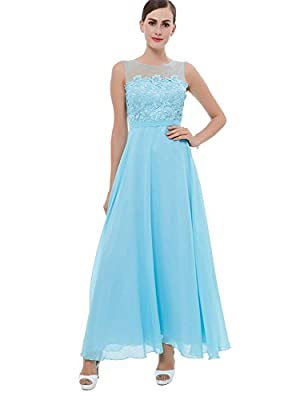 Tanpell Women's A-Line Sheer Neck Straps Lace Long Prom Dress
