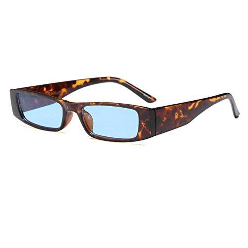 Rectángulo de Lente Gafas Escoger UV400 Moda Estilo para Leopard súper de Gafas Color C2 primavera Retro sol Marco Mujer Bisagra 6 Pequeña Blue Xinvision EWqSc4q